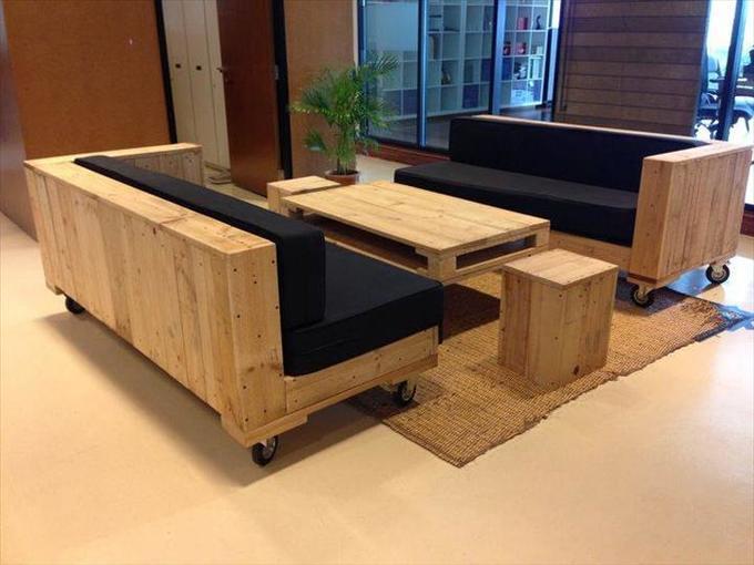 Palette canape en palette palette en bois meuble tv en - Fabriquer un canape en bois ...