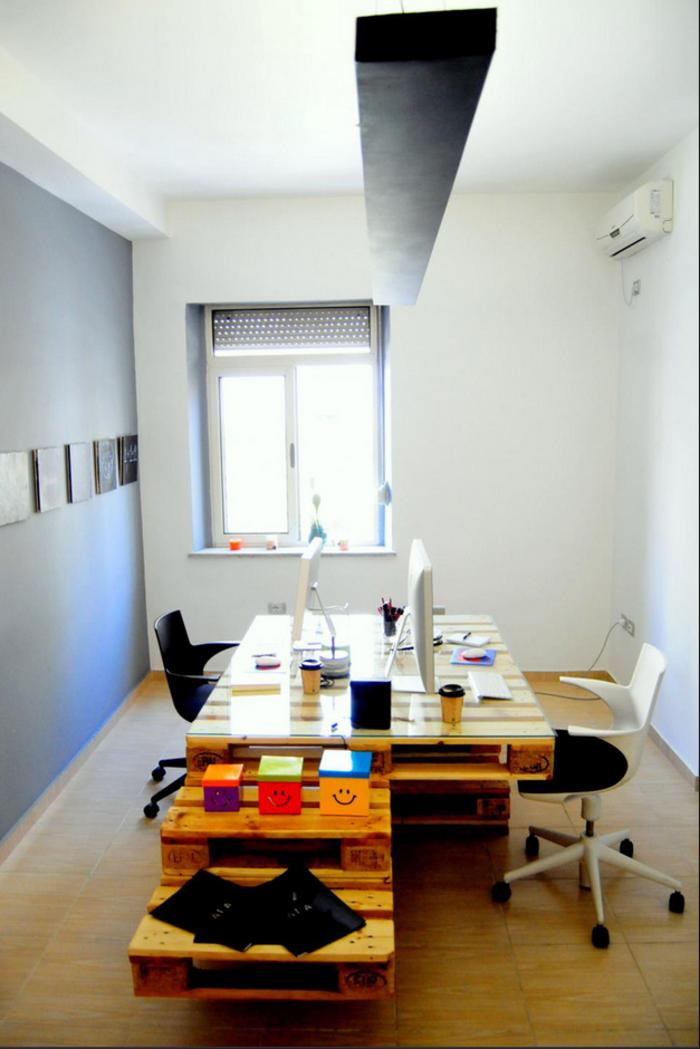 Double bureau en palette