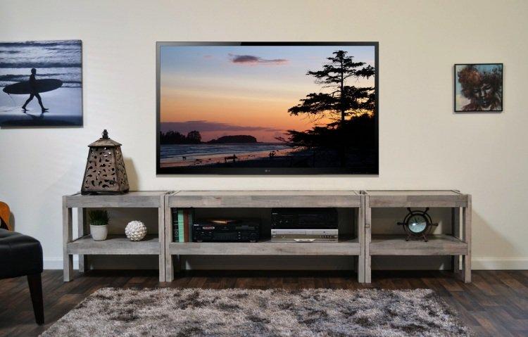 Des id es de meuble tv en palette - Meuble tv fait maison ...