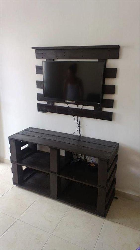 Des id es de meuble tv en palette - Fabriquer un meuble tv en palette ...