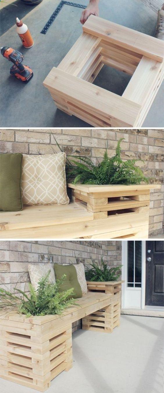 banc de jardin en palette